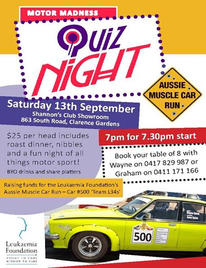 Aussie Muscle Car Run Quiz Night