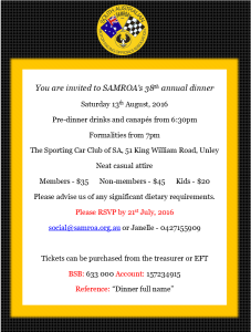 SAMROA DINNER NEWSLETTER FLYER